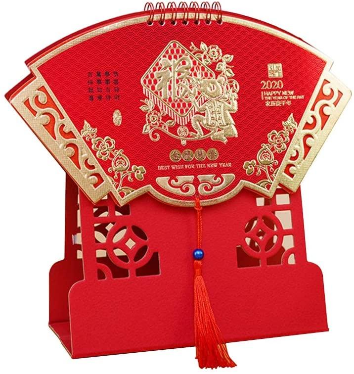 Ornerx 2020 Chinese Desk Calendar Red Fan