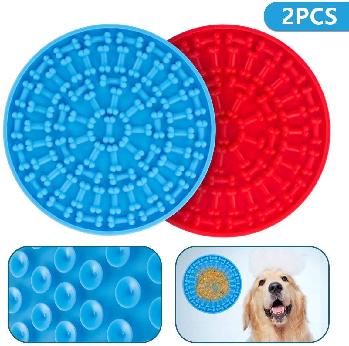 ST-Transfer Dog Lick Mat Pad Dogs Slow Eating Dispensing Treater Mat, Dog Washing Distraction Device with Super Suction for Pet Bathing, Grooming, Dog Training, and Dog Treats