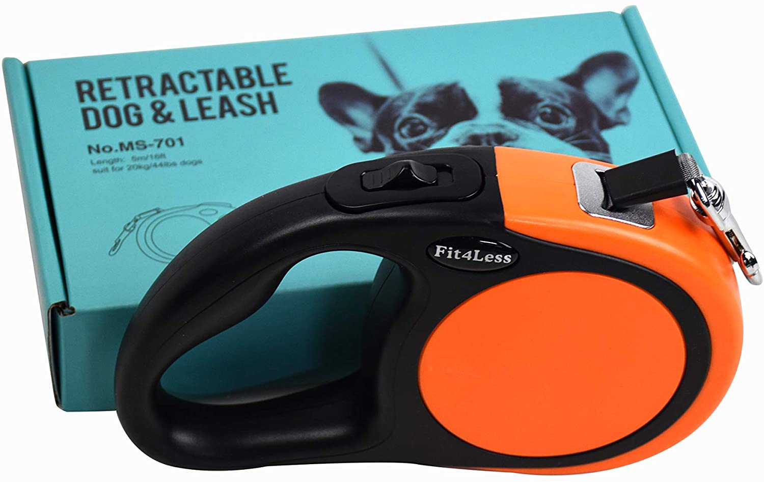 Fit4Less Retractable Dog Leash 16 ft Length Ideal for Small and mid Size up to 55lbs, with one Button Break and Lock.