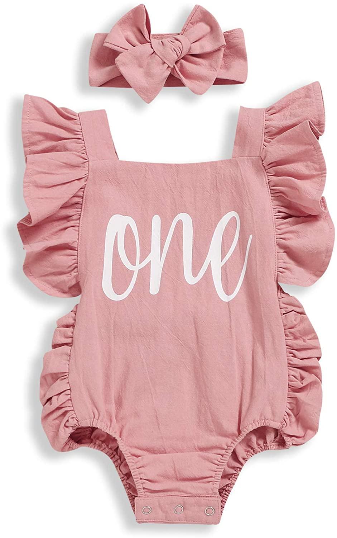 Baby Girls Birthday Romper Set Ruffle Sleeveless Backless Onesies Outfits with Headband