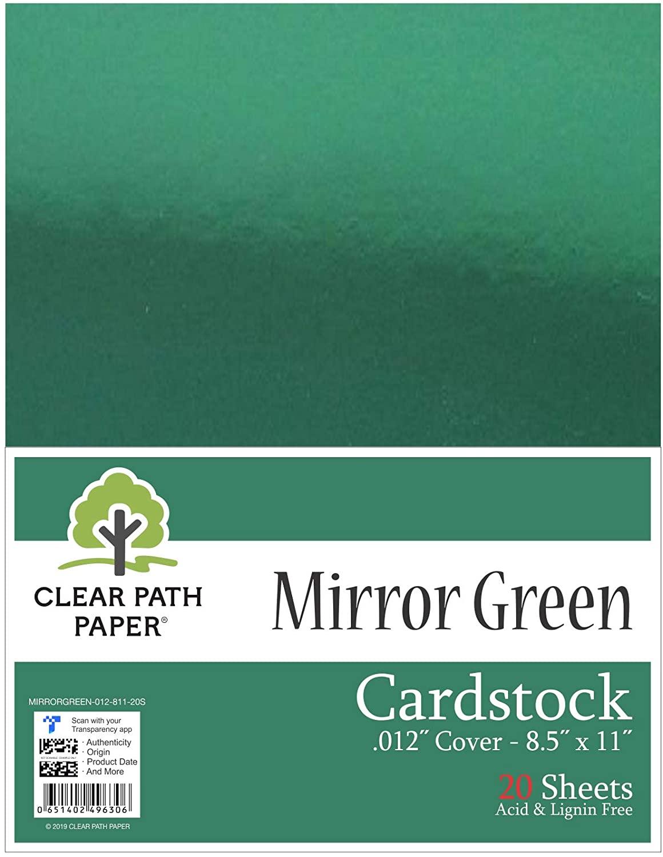 Mirror Metallic Green Cardstock - 8.5 x 11 inch - .012