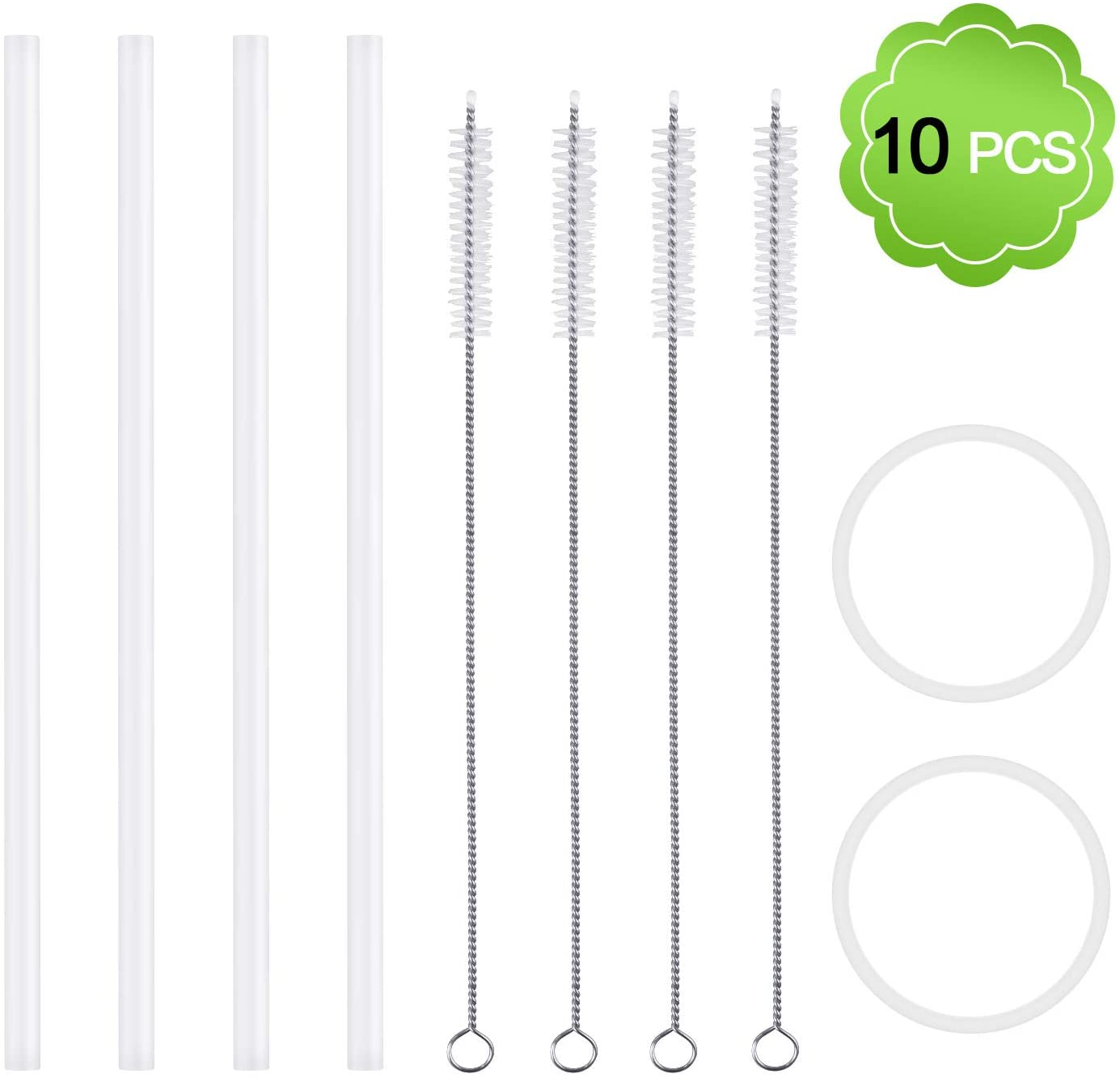 MENOLY Replacement Straws for Hydro Flask Wide Mouth Bottle Straw Lid, 4 Straws 4 Cleaning Brushes and 2 Replacement Gaskets