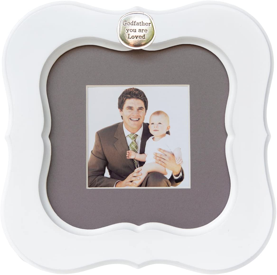 Godfather You Are Loved White Greige Mat Frame - Holds 3 x 3 Inch Photo