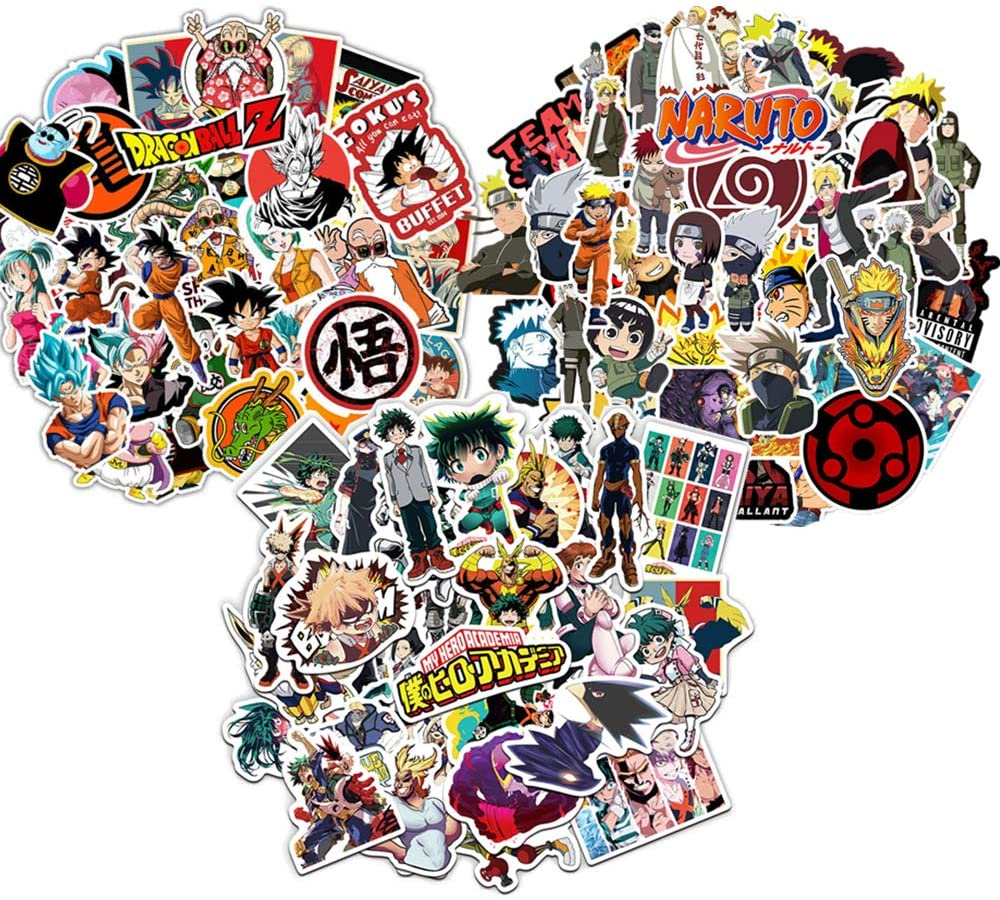 150PCS Anime Stickers,Top 3 Japanese Anime, Each 50PCS Stickers of Dragon Balls, My Hero Academia and Naruto for Laptop Water Bottles Luggage Bikes Notebook Decal