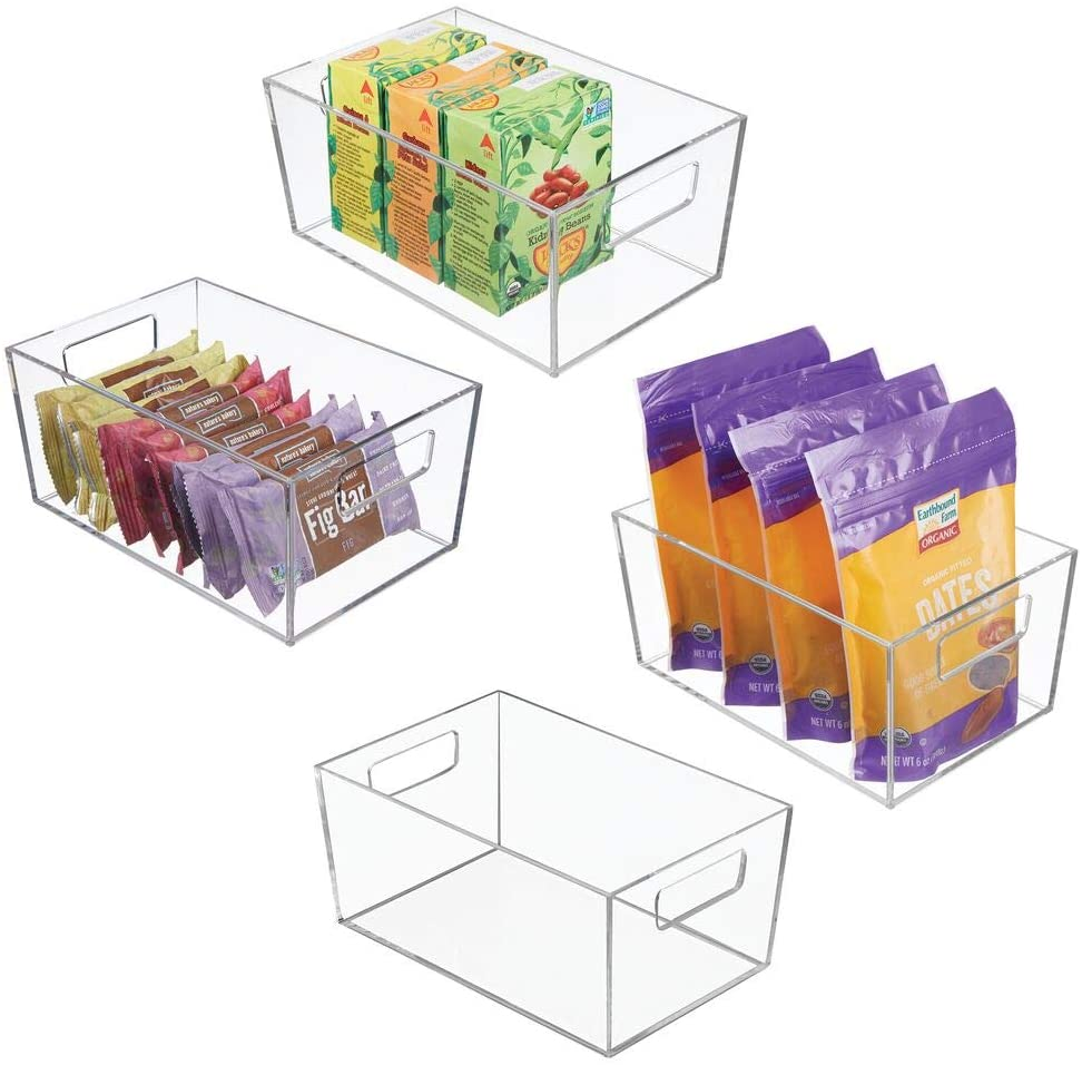 mDesign Plastic Kitchen Storage Organizer Bin - Tote with Carrying Handles for Refrigerator, Cabinet, Pantry to Hold Fruit, Vegetables, Snacks, Boxed or Canned Food - 4 Pack - Clear