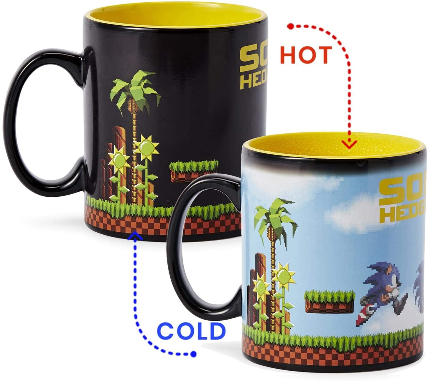 Sonic the Hedgehog Heat Changing 16-Bit Ceramic Coffee Mug | Official Sonic The Hedgehog Collectible Cup | Holds 16 Ounces