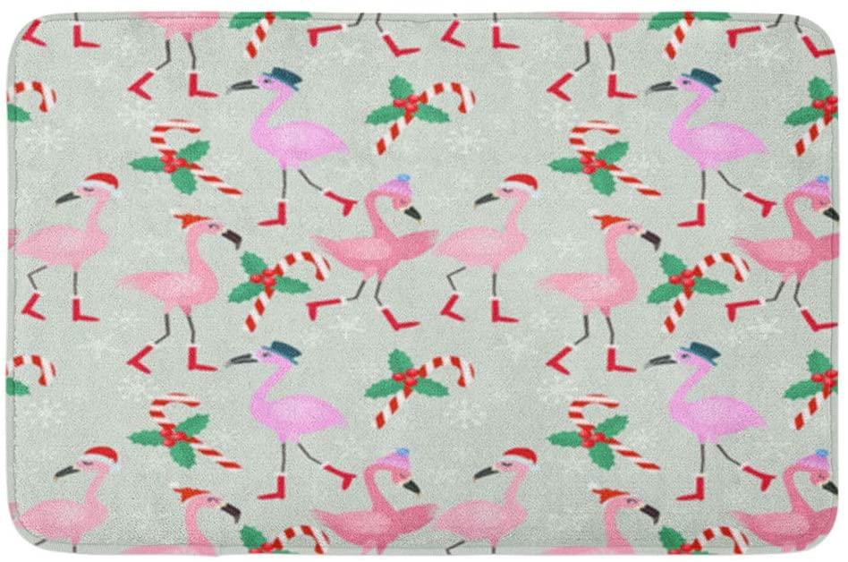 Adowyee Bath Mat Christmas Flamingo Pattern Cone Snow Bird Boots Candy Cane Celebration December Cozy Bathroom Decor Bath Rug with Non Slip Backing 20