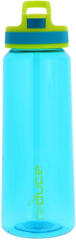 REDUCE Axis Sport Water Bottle, 27oz- Aqua/Lime - Push Button, Flip Top Hygenic Lid - Non-Toxic BPA Free 100% Tritan Bottle