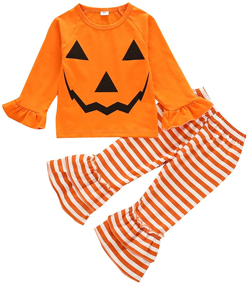 Muasaaluxi Toddler Kid Baby Girls Halloween Outfits Ruffled Long Sleeve Top Blouse Striped Pants Pajamas Set 1-6Y