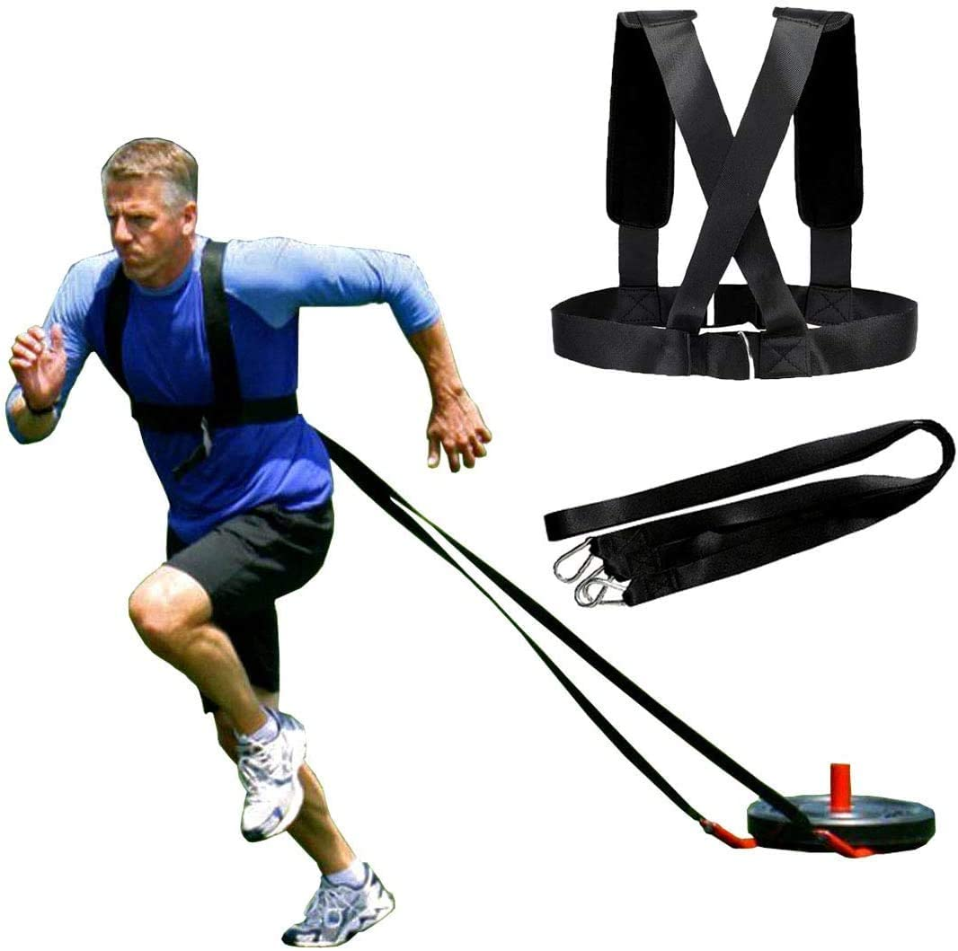Qikafan Sled Harness Weight-Bearing Shoulder Straps are Used for Physical Training Power Sprint and Burst Exercises-Adjustable Padded Shoulder Strap