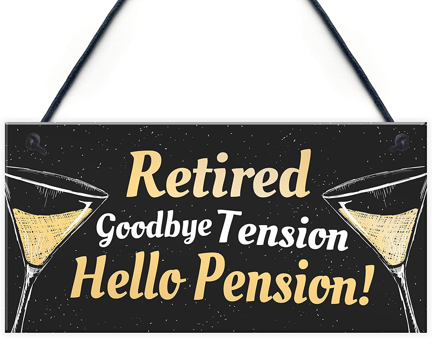 Meijiafei Retired Goodbye Tension Hello Pension Funny Happy Retirement Plaque Alcohol Work Gift for Men 10
