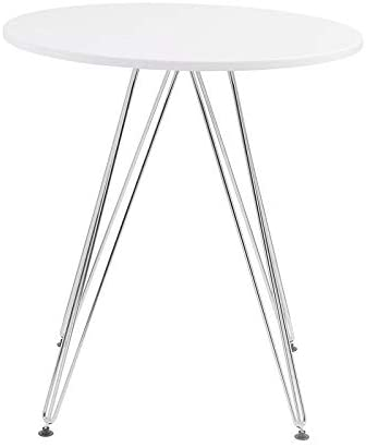 Pemberly Row Red Hill White and Chrome 28'' Round Dining Table