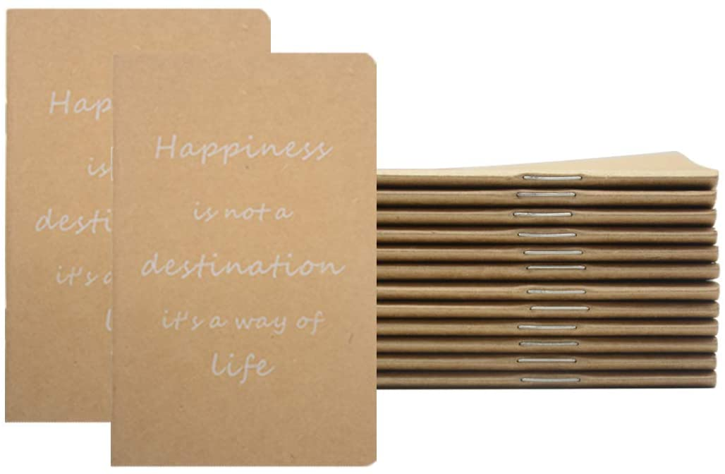 """Yansanido Brown Pocket Notebook, 12 Pack 3.5"""" x 5.5"""" Small Pocket Notebook Set Portable Mini Lined Memo Notepad, 32 Sheets - 64 Lined Pages (12PCS-Happiness is not a destination)"""