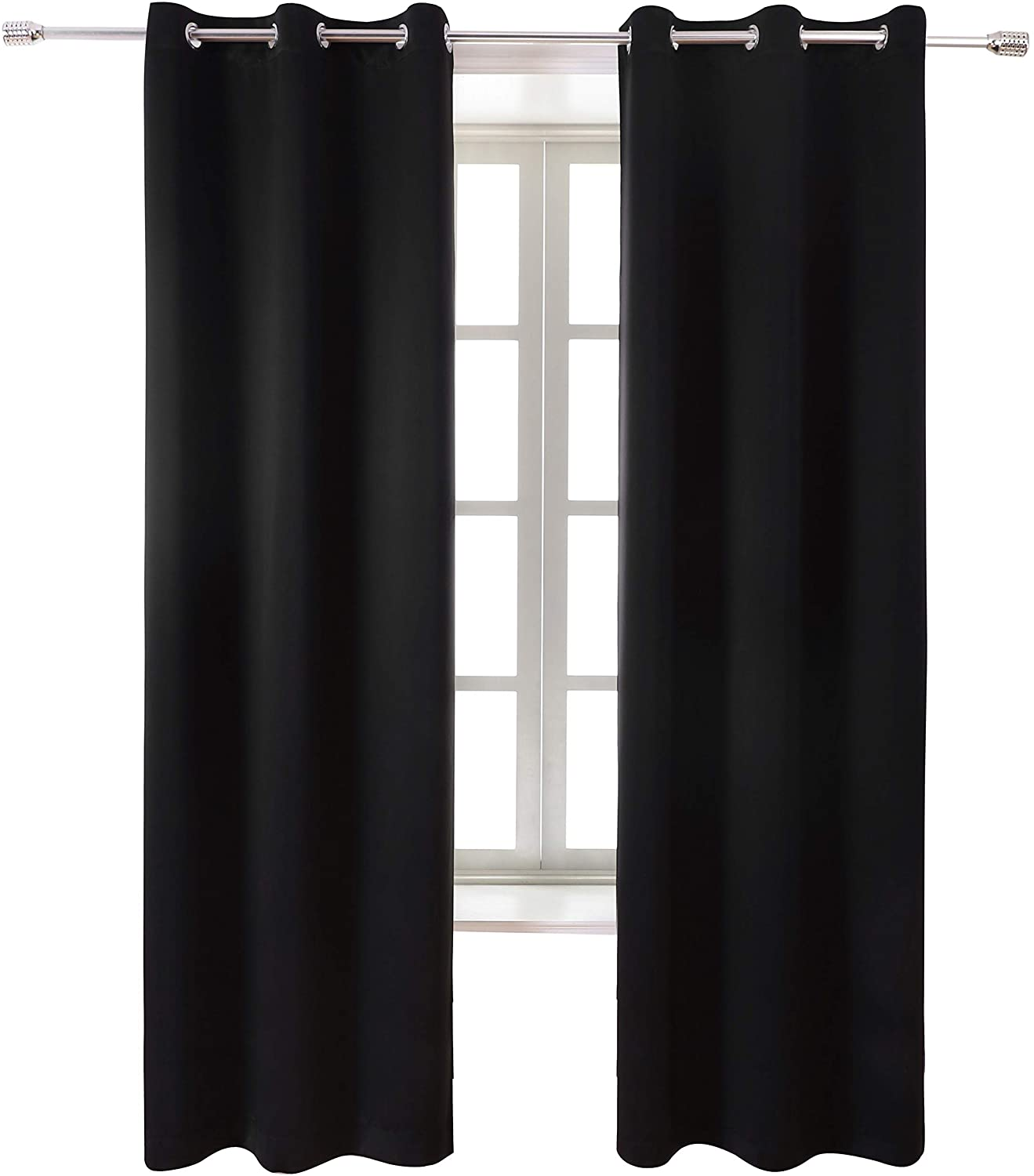 WONTEX Blackout Curtains Room Darkening Thermal Insulated with Grommet Window Curtain for Living Room, 38 x 72 inch, Black, 2 Panels