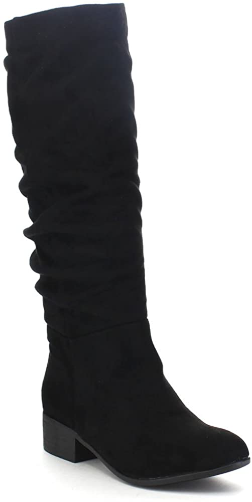 Soda Index Women's Classic Slouchy Cowboy Knee High Riding Boots