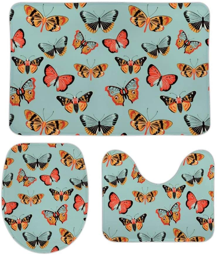 Colorful Butterfly Moth Pattern Family Bathroom Rugs and Mats Sets 3 Piece Bath Mat, U-Shaped Contour Shower Mat Non Slip Absorbent, Velvet Toilet Lid Cover Washable 16x24 in