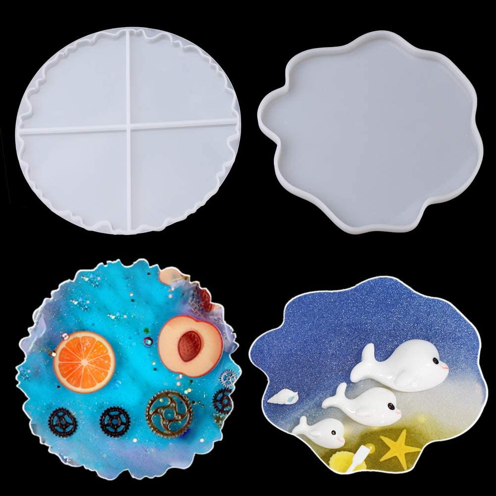 pengxiaomei Thick Casting Resin Mold,2pcs Epoxy Silicone Molds Mirror Irregular Coaster Silicone Mold,Durable Silicone Molds for Making Agate Slice Coasters/Cup Mats/Decoration/Jewelry