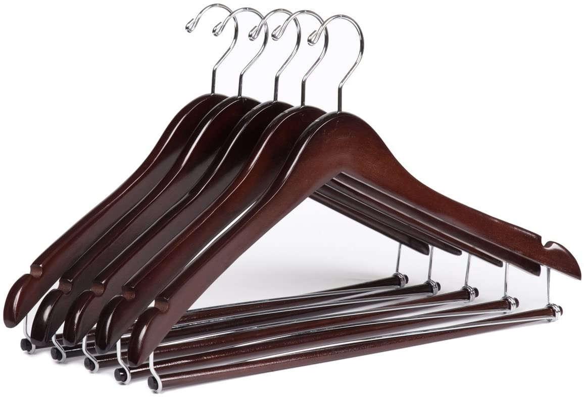 Quality Hangers 10 Wooden Curved Hangers Beautiful Sturdy Suit Coat Hangers with Locking Bar Chrome Hooks (10)