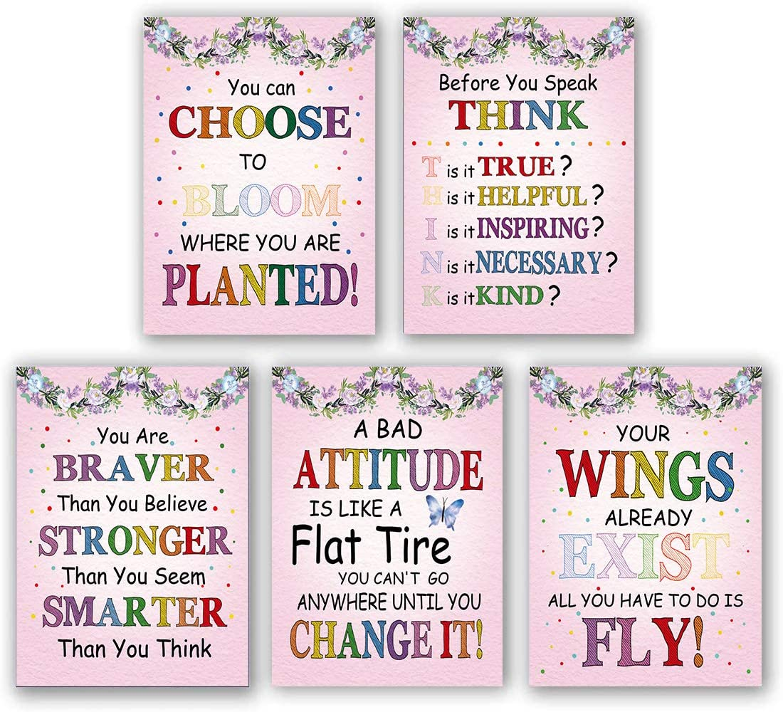 5 Set- Watercolor Words Inspirational Quote Modern Wall Art Print Canvas Painting,Motivational Phrases Wall Art Poster for Classroom Nursery or Kids Room Home Decoration (Unframed,8