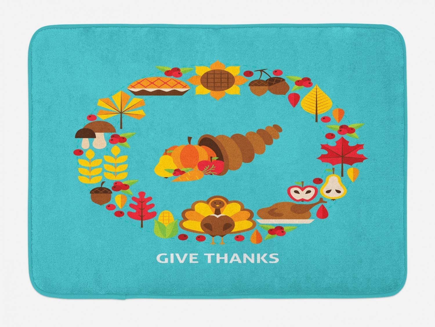 Lunarable Thanksgiving Bath Mat, Cornucopia Simple Pictogram Doodle with Give Thanks Words Food Turkey Leaves, Plush Bathroom Decor Mat with Non Slip Backing, 29.5