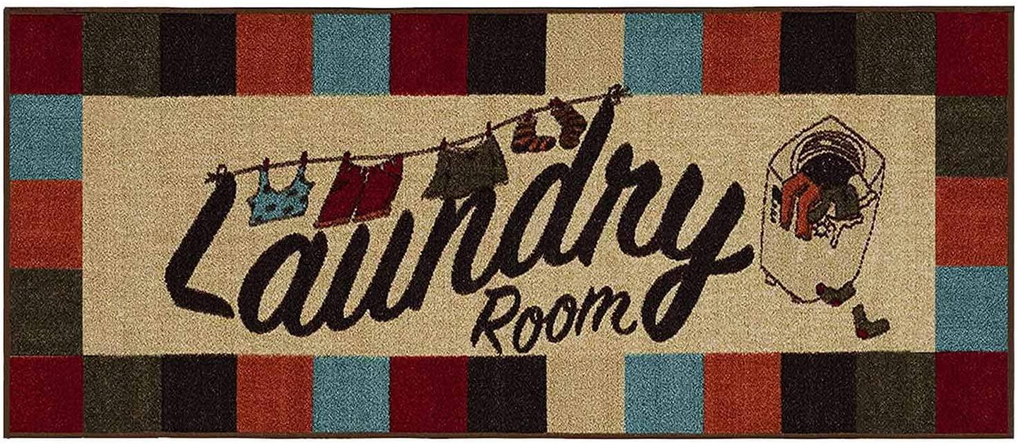 Flytime Plaid Rugs Washtown Runner Rug Vintage Laundry Room Floor Mat for Wash Room Non Skid Rubber Waterproof Kitchen Carpet 16