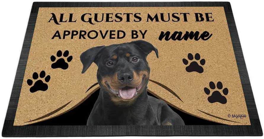 BAGEYOU All Guests Must be Approved Outdoor Doormat with My Love Dog Rottweiler Welcome Floor Mat Custom Name 23.6