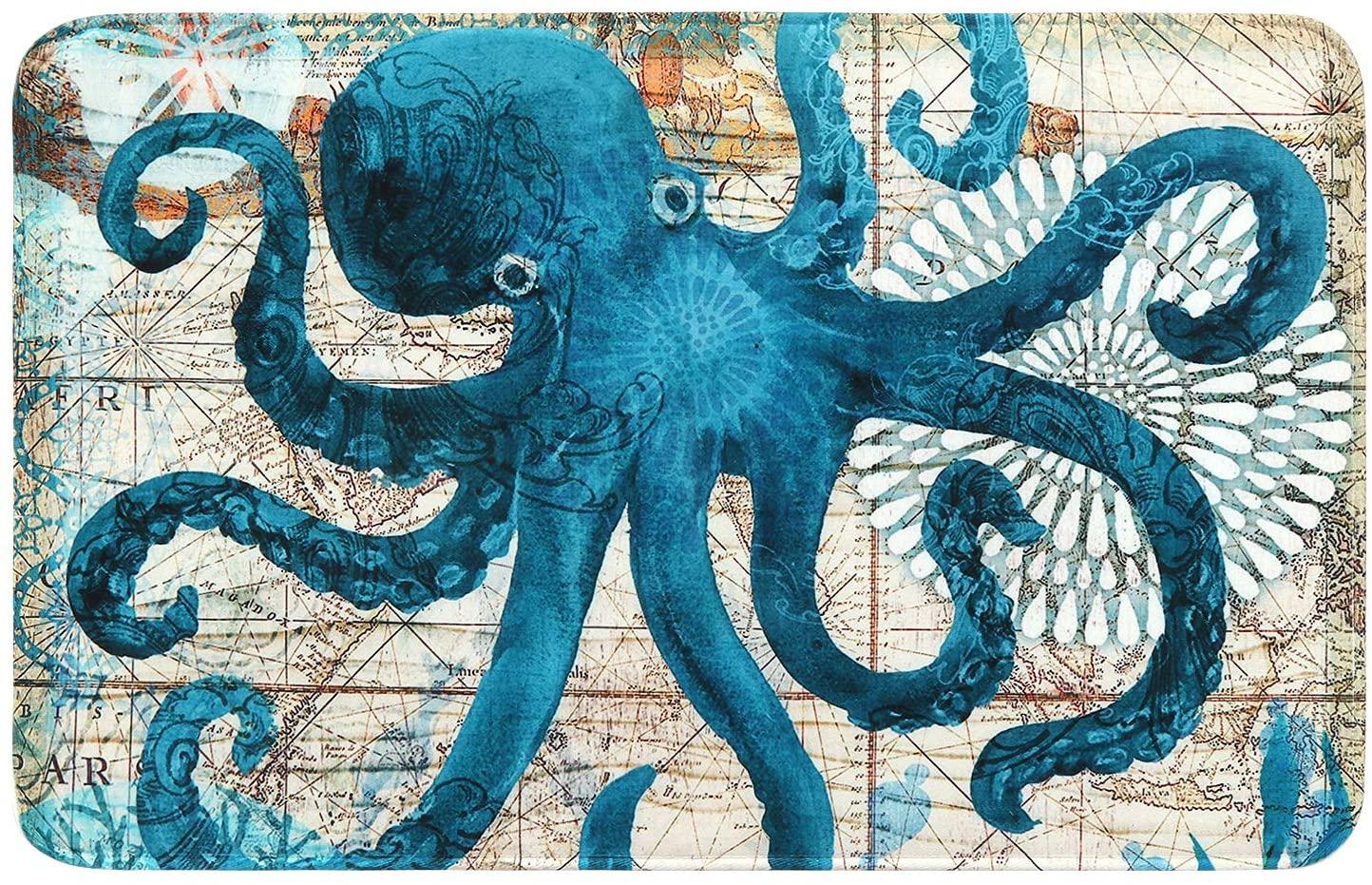 Uphome Octopus Foam Bath Mat Sea Theme Coastal Navigation Map Blue Bathroom Rugs Non-Slip Flannel Floor Bath Rug,Summer Ocean Life Bathroom Decorations,20x31
