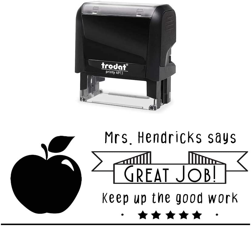 Self Inking Teacher Stamp. Custom Great Job, Keep up The Great Work Classroom Stamper with Shiny Healthy Fruit Image. Variety of Designs, 5 Ink Colors, 3 Lines, All Wording can be Changed!