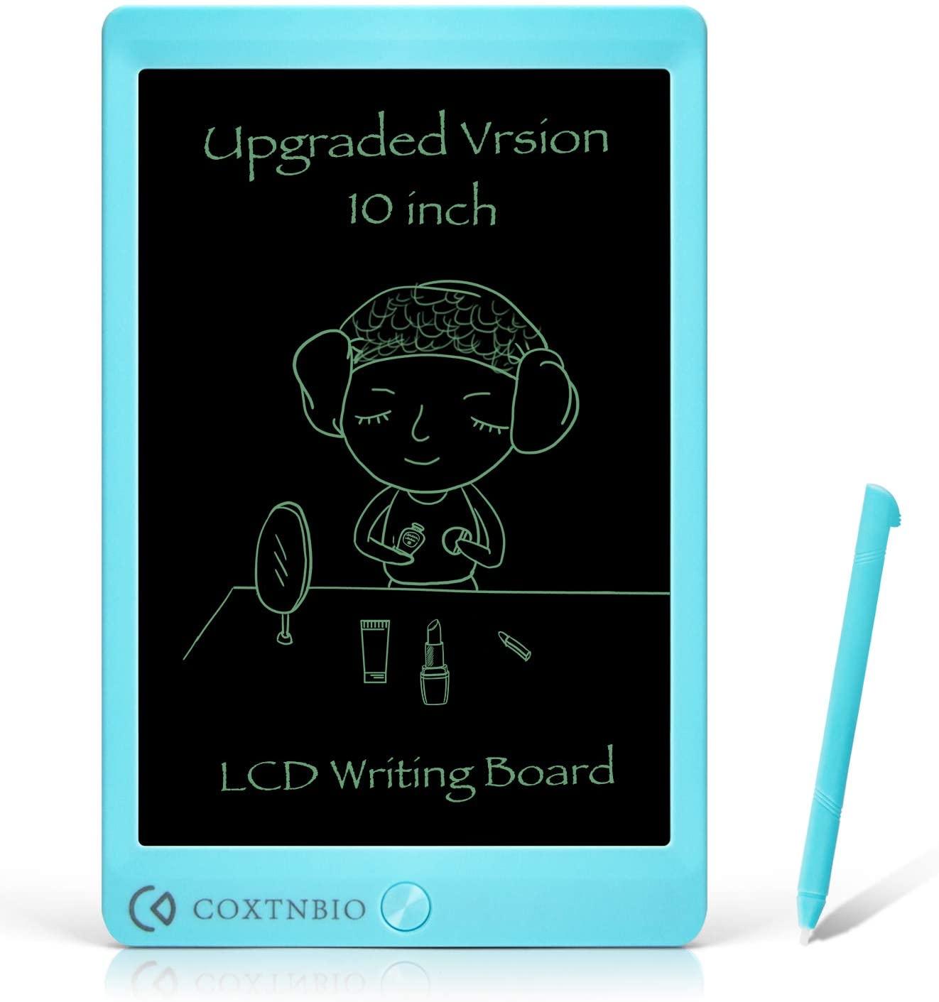 Coxtnbio 10 inch LCD Writing Tablet, Drawing Board for Kids Drawing Tablet Writing Pads Harmless to Eyes Birthday Gift Office Blackboard (Blue)