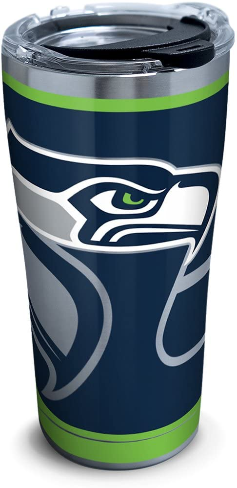 Tervis NFL Seattle Seahawks Rush Stainless Steel Tumbler with Lid, 20 oz, Silver