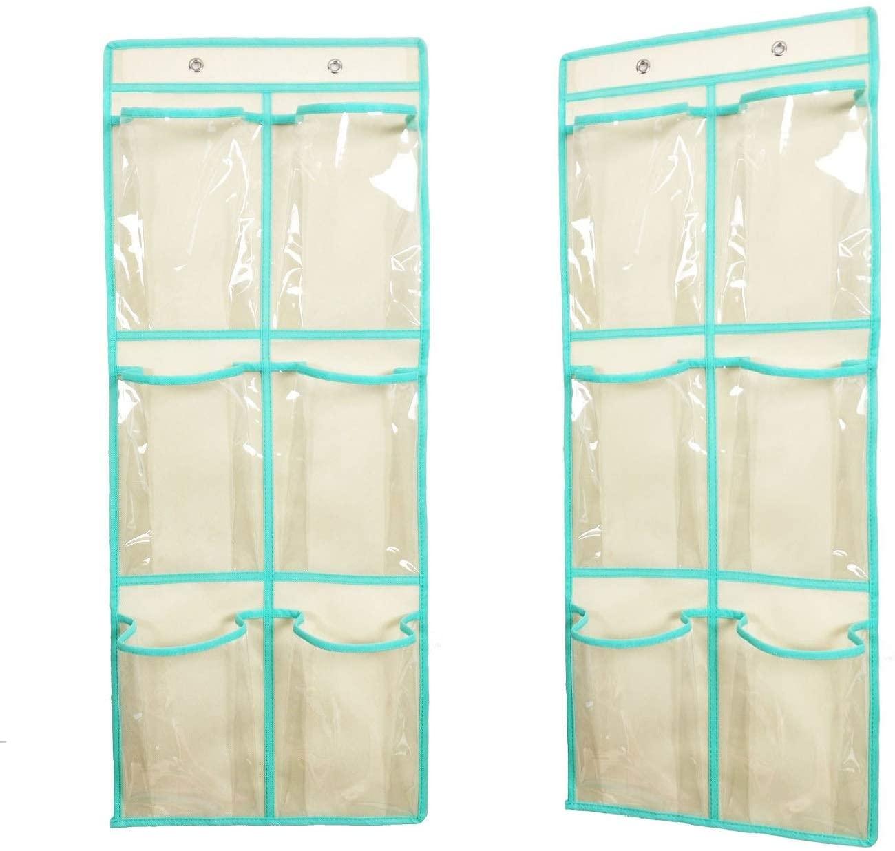 ANIZER Over The Door Hanging Shoe Organizer Narrow Closet Door Shoe Storage 6 Large Clear Pockets Chart 2 Pack (BEIGE)