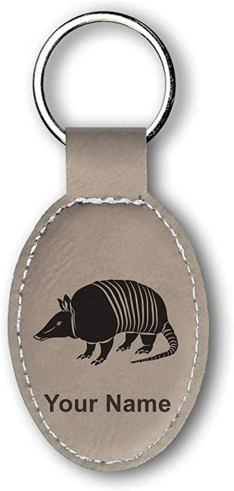 Faux Leather Oval Keychain, Armadillo, Personalized Engraving Included