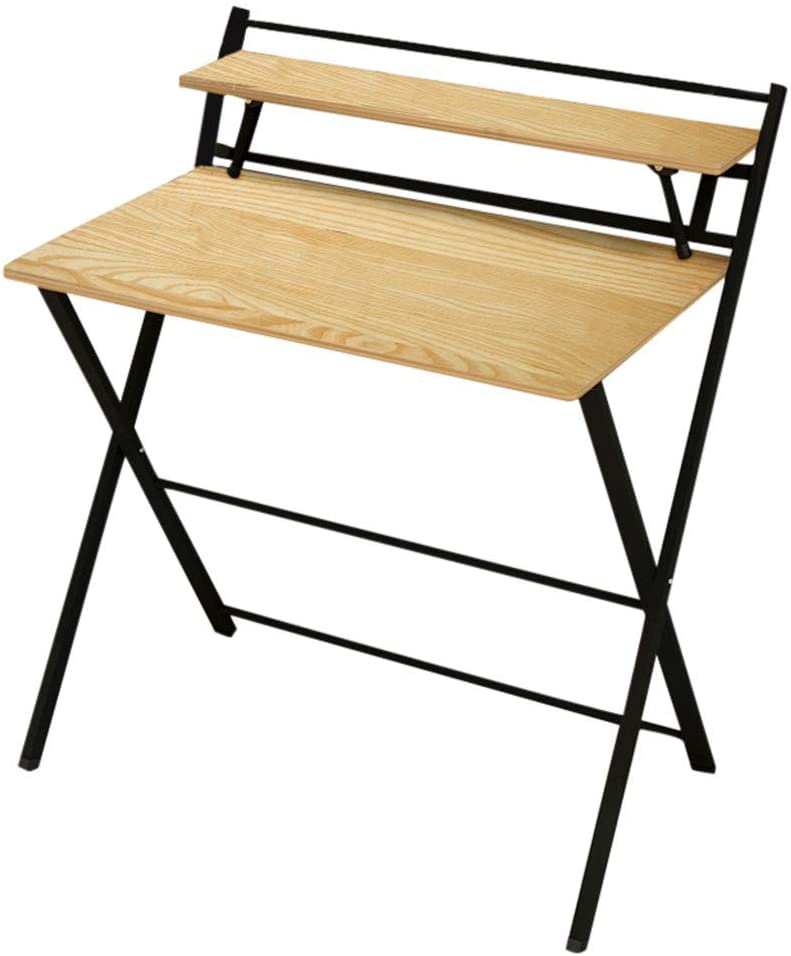 NDGDGA Folding Study Desk, Computer Desk for Small Space, Home Office Writing Desk Simple Laptop Writing Table Desk Shelf, Sturdy Sturdy Desk for Modern Simple Style (B, 33.4x24x36.6inch)