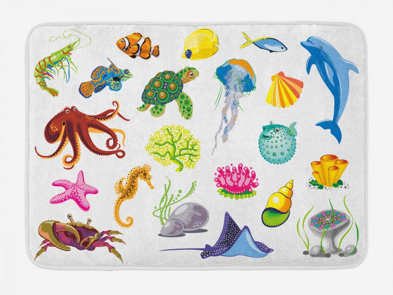 Ambesonne Marine Bath Mat, Sea Animals Octopus Dolphin Shells Stingray Crab Turtle Jellyfish Wildlife Graphic, Plush Bathroom Decor Mat with Non Slip Backing, 29.5