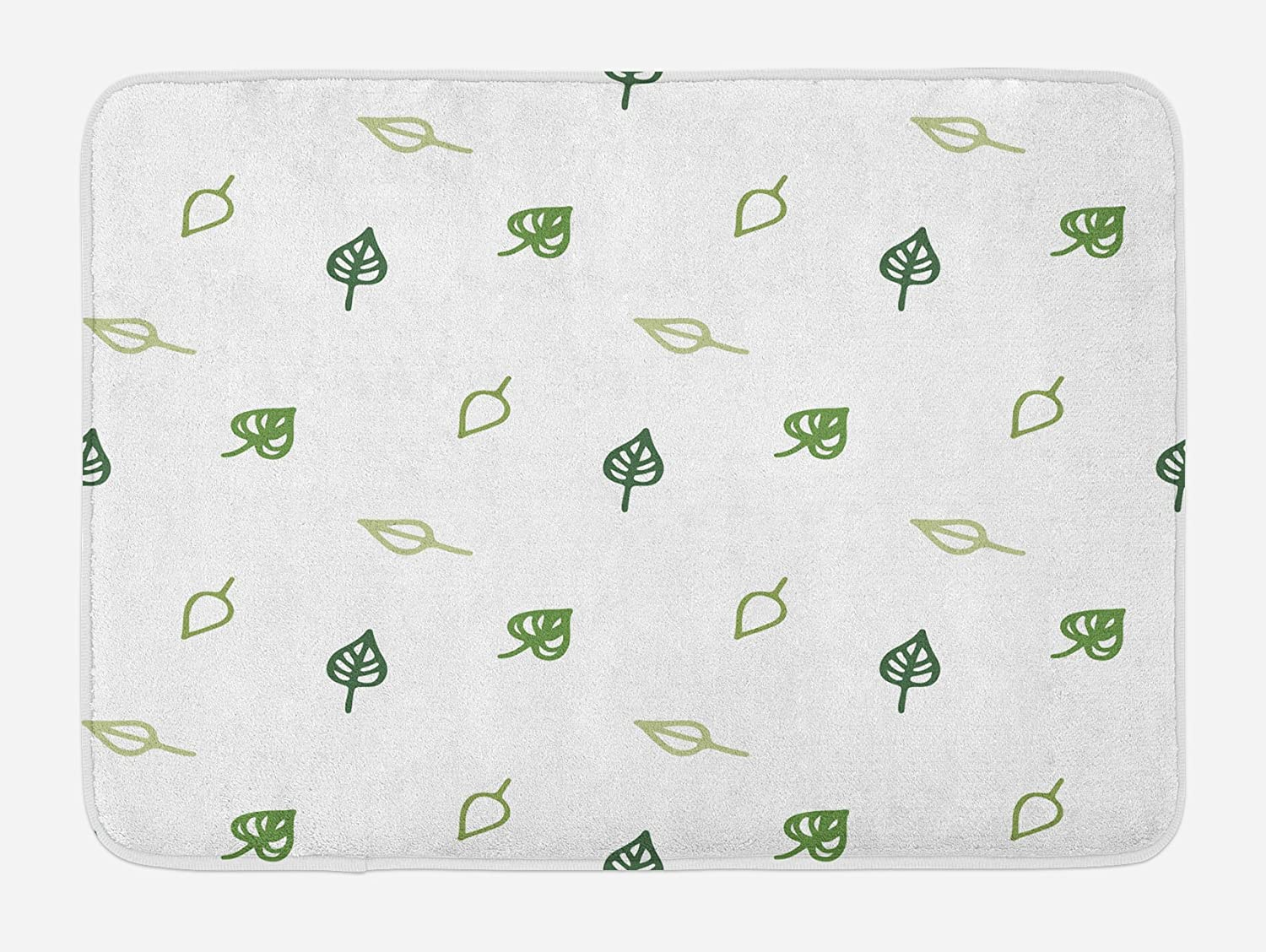 Ambesonne Leaf Bath Mat, Modern and Minimalistic Leaves Style with Abstract Pattern Design Image Print, Plush Bathroom Decor Mat with Non Slip Backing, 29.5
