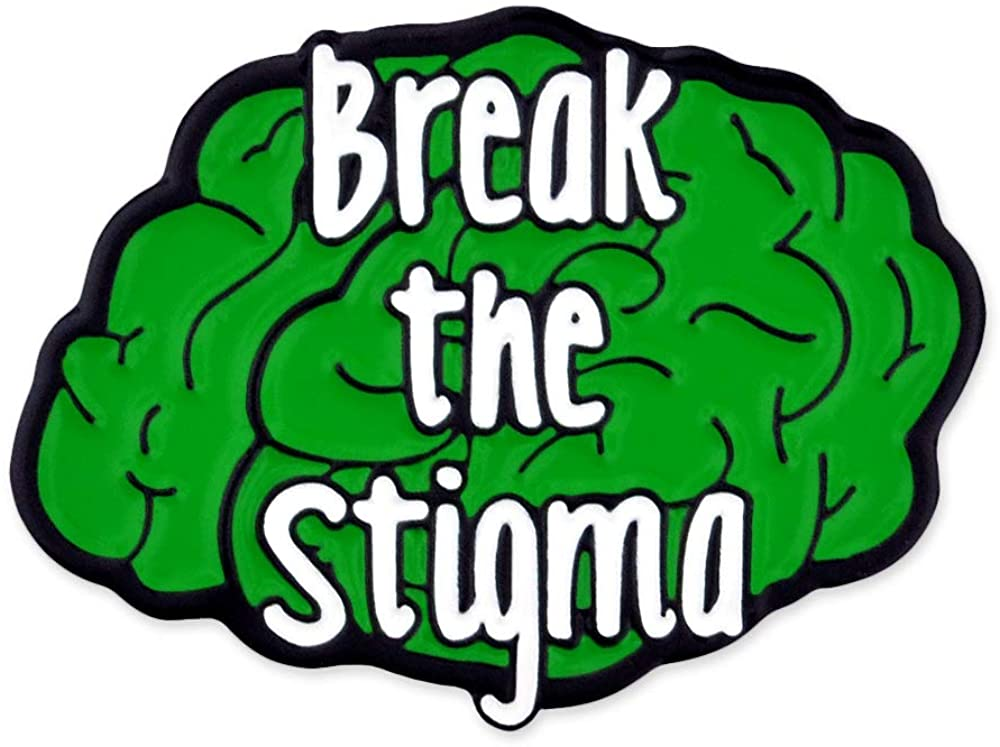 PinMart Break The Stigma Green Awareness Mental Health Brain Enamel Lapel Pin