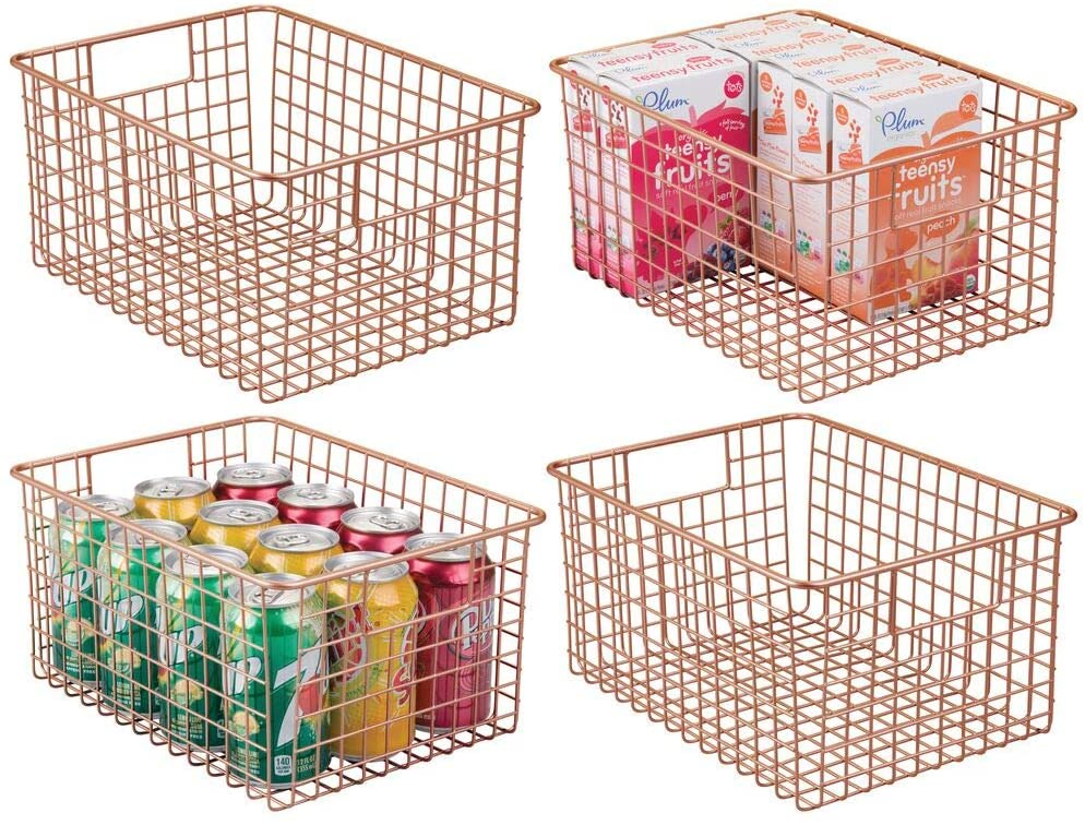 mDesign Farmhouse Decor Metal Wire Food Storage Organizer Bin Basket with Handles - for Kitchen Cabinets, Pantry, Bathroom, Laundry Room, Closets, Garage - 4 Pack - Copper