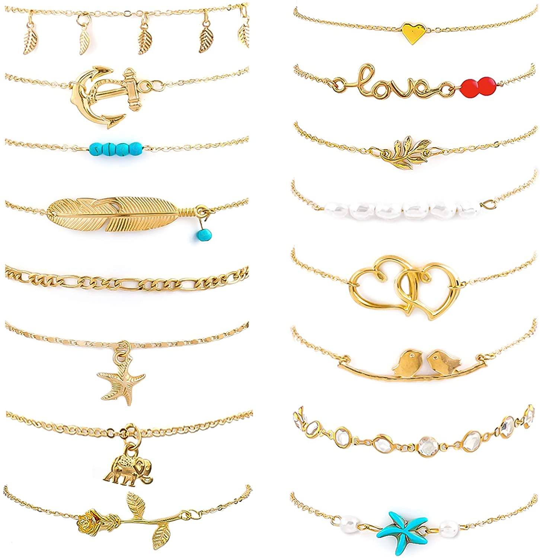 Ankle Bracelets for Women Set, Adjustable Size Beach Anklet Set, Golden Chain Beach Anklet, Jewelry Anklet for Women Beach Jewelry Gifts