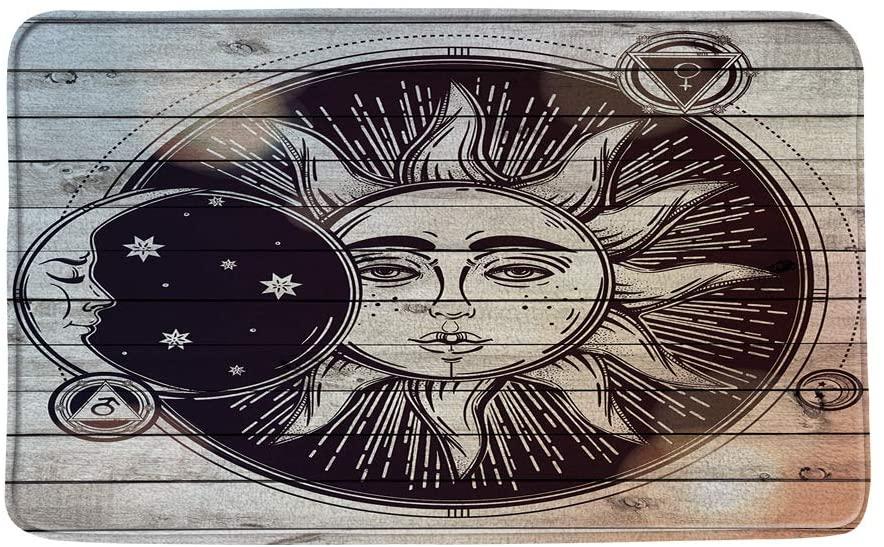 Sun and Moon Bath Mat,Rustic Wooden Board Farmhouse Bath Rug Vintage Abstract Bohemia Bathroom Floor Carpet Paisley Black and Gray Universe Starry Absorbent Doormat Bedroom Rug 19.7x31.5 Inch