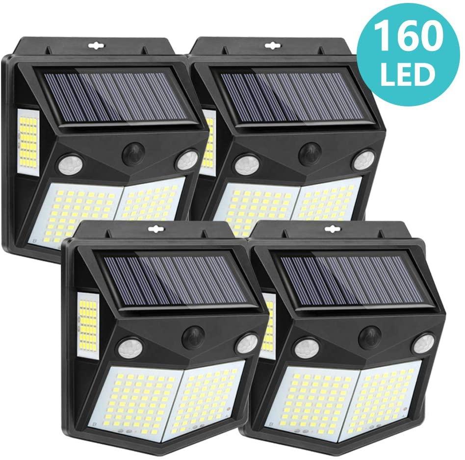 Kaulsoue 160 LED Solar Outdoor Lights, Waterproof Security Motion Sensor Wall Lights for Yard, Garden, Deck, Patio (4 Pack)