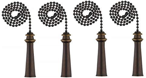 Ciata Trophy Pull Chain in Oil Rubbed Bronze Finish with 12 inch Beaded Chain - 4 Pack