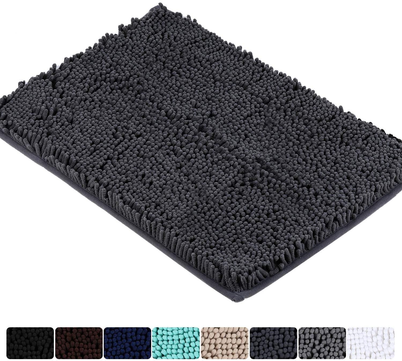 Colorxy Luxury Chenille Bathroom Rugs - Solid Shaggy Washable Bath Mat Non Slip Bath Room Runner, Ultra Soft, Plush Bathmat for Bathroom Shower with Water Absorbent Memory Foam, 17''x47'', Dark Grey