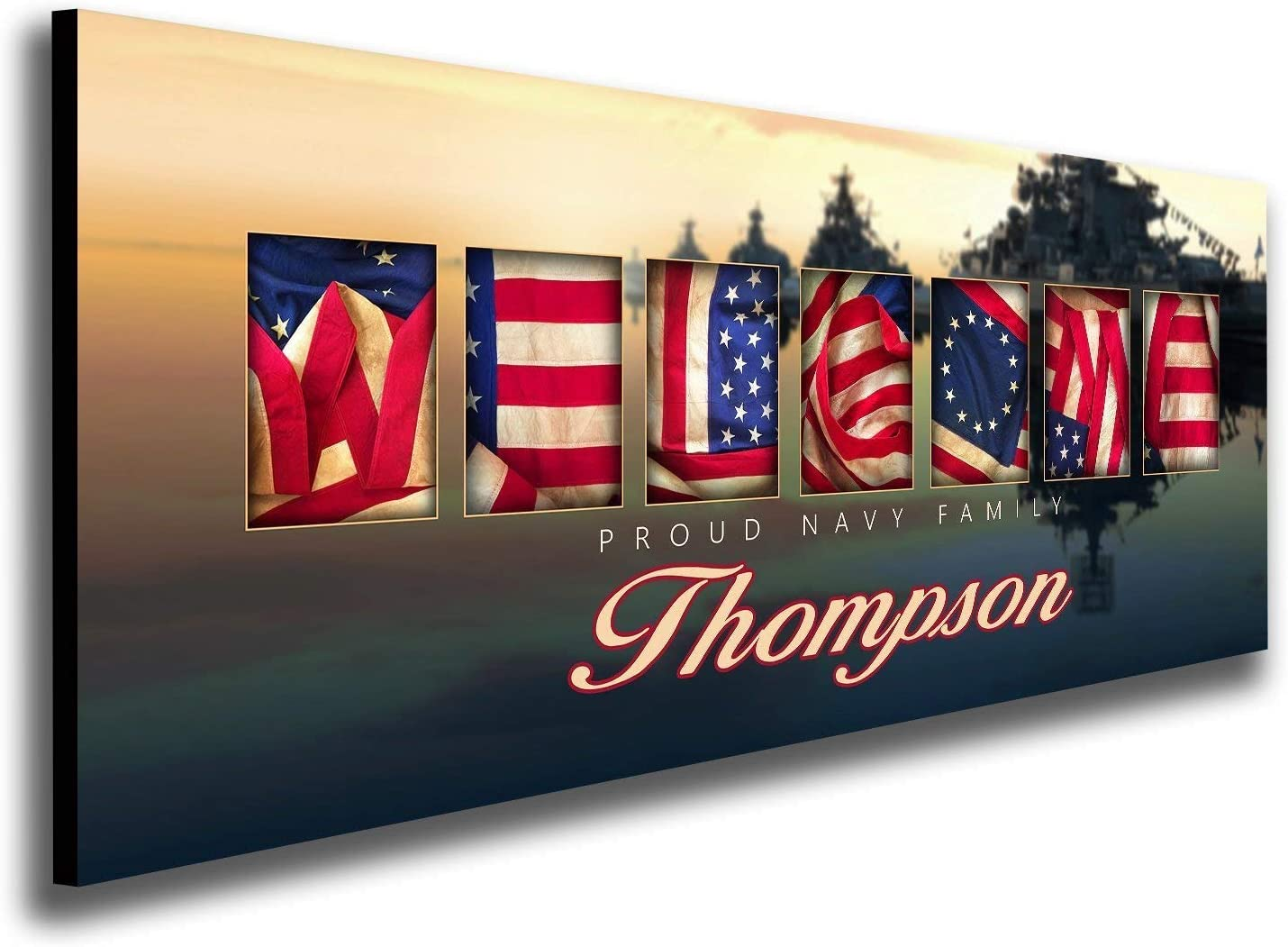 Personalized US Armed Forces Welcome Family Art (9.5x26 Block Mount, Navy)