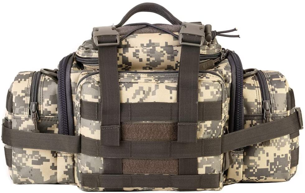 UNISTRENGH Tactical Assault Gear Sling Pack Hiking Duffle Fanny Packs MOLLE Compact Utility Military Waist Range Bag Heavy Duty EDC Camera Shoulder Backpack