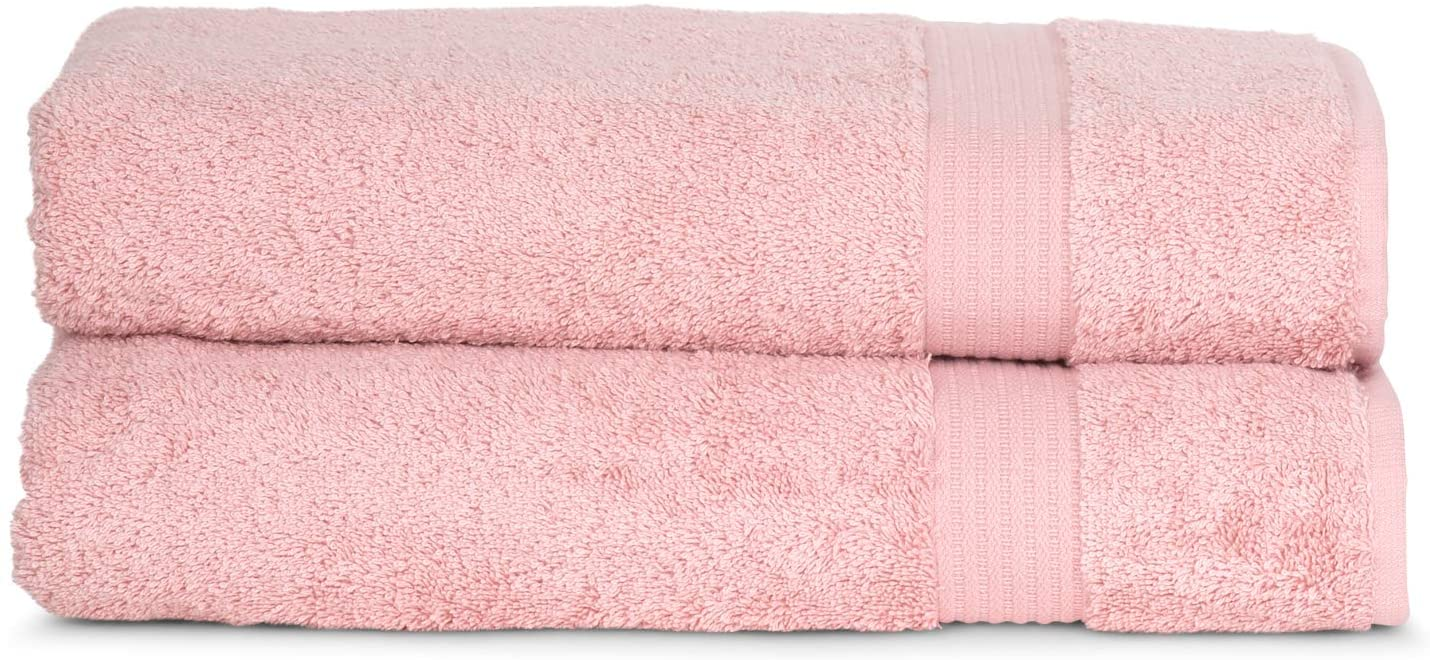 TowelSelections Sunshine Collection Soft Towels 100% Turkish Cotton 2 Bath Towels Powder Pink