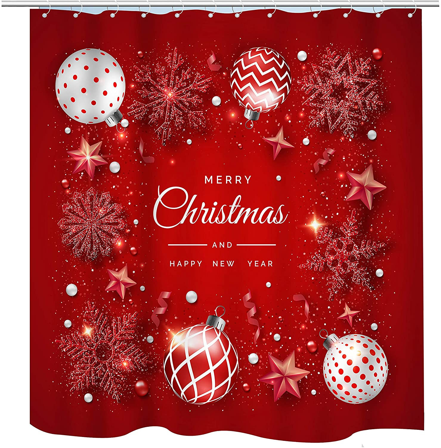 BECAN Merry Christmas Christmas Shining Snowflakes Ribbons and Colorful Balls New Year and Christmas on red Background Polyester Fabric Bathroom Shower Curtain 72X72 Inches with 12pcs Hooks
