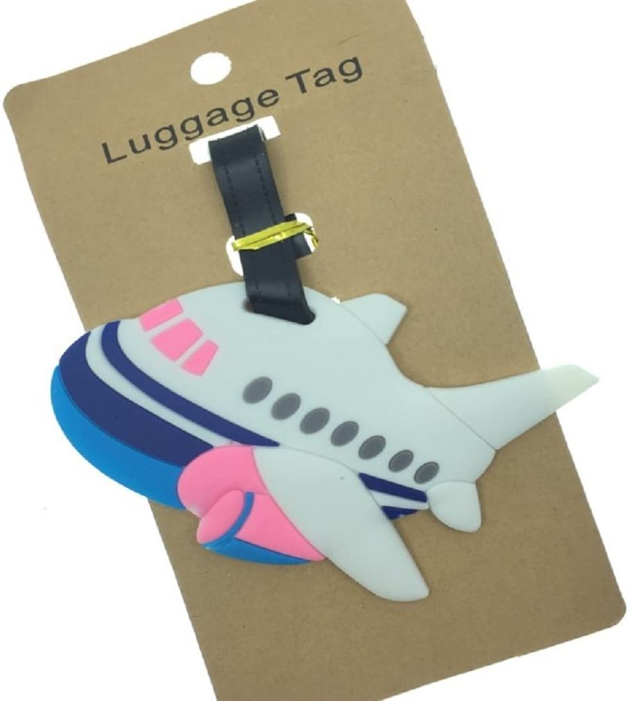 Cute Silicone Characters/Animals/Pirate Ship/London/Paris/Holland/Bus/Airplane Luggage Tags/ID for Travel and School (Airplane)