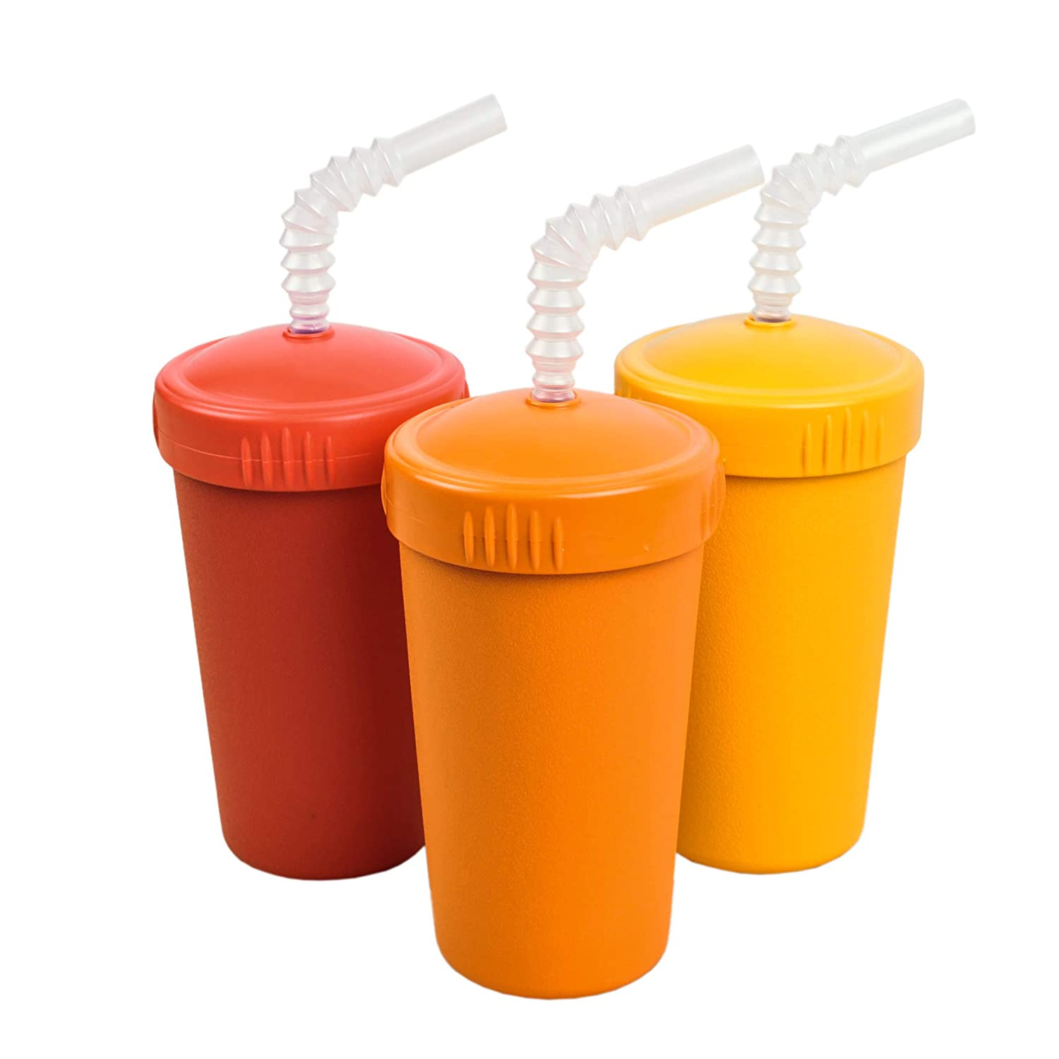 Re-Play Made in USA 3pk Straw Cups with Reversable Straw for Easy Baby, Toddler, Child Feeding - Red, Orange, Sunny Yellow (Fall)