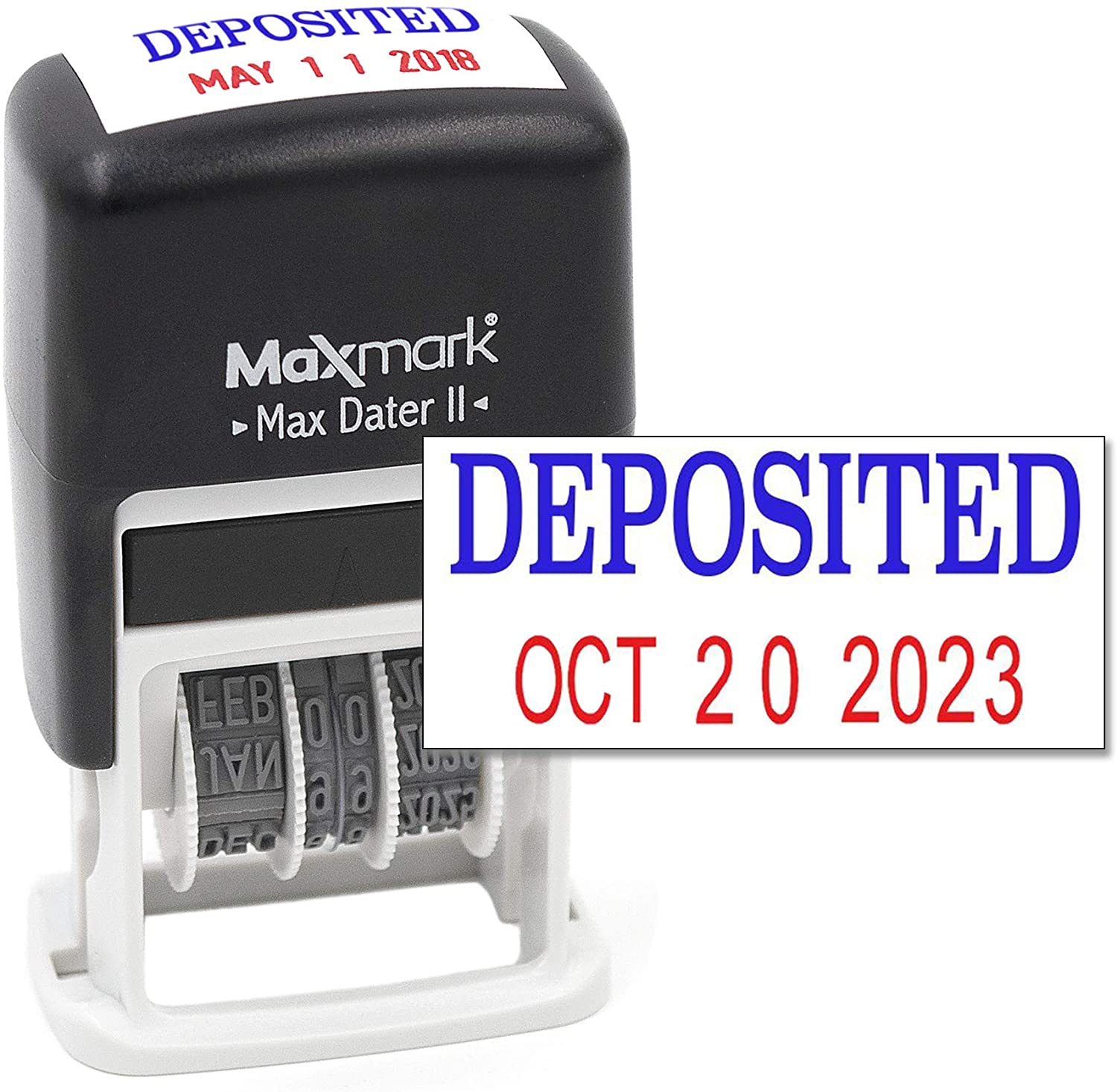 MaxMark Self-Inking Rubber Date Office Stamp with DEPOSITED Phrase Blue Ink & Date RED Ink (Max Dater II), 12-Year Band