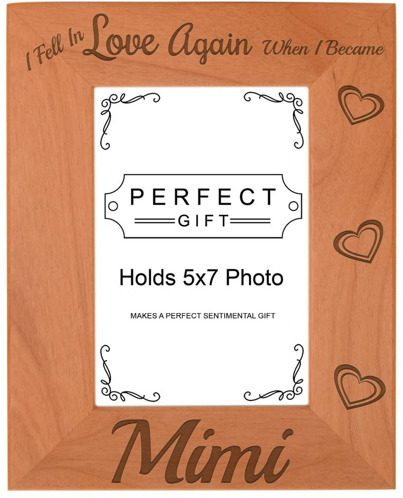 ThisWear Grandma Gifts Fell in Love When I Became Mimi Natural Wood Engraved 5x7 Portrait Picture Frame Wood
